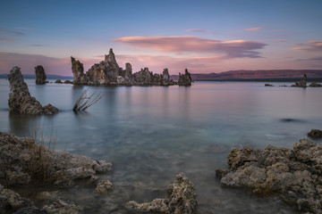 Tufa formations at sunset at Mono Lake, California, USA