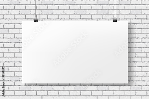 White poster mockup on a brick wall. Empty template. White paper ...