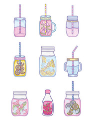 Set of summer cartoons