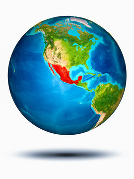 Mexico on Earth with white background