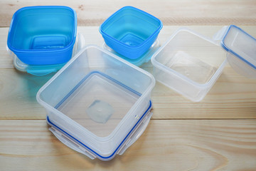 Empty plastic food storage containers. the concept of long-term storage of products.