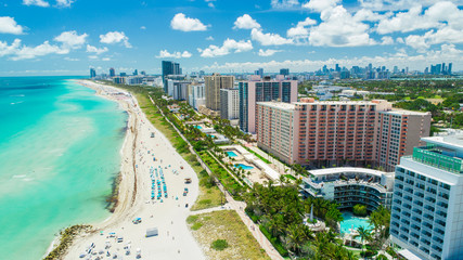 Aerial view of South Beach, Miami Beach, Florida, USA.