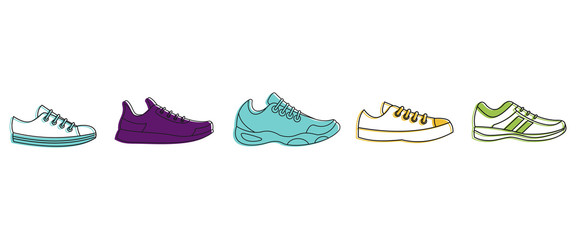 Running shoes icon set, color outline style