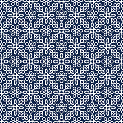 Indigo dye woodblock printed seamless ethnic floral damask pattern. Traditional oriental ornament of India Kashmir, geometric flowers, ecru on navy blue  background. Textile design.
