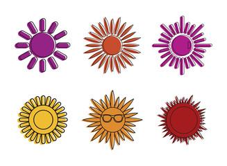 Sun icon set, color outline style