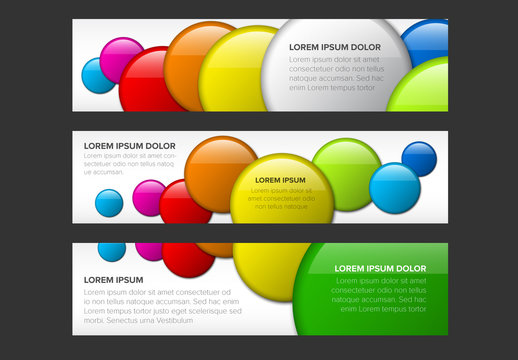 3 Web Banner Layouts with Colorful Circles