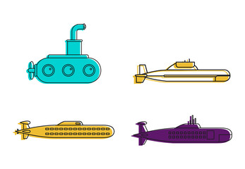 Submarine icon set, color outline style