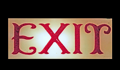Old-fashioned hand-painted exit sign
