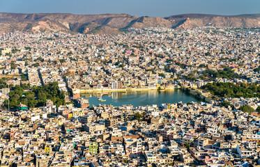 Aerial view of Jaipur with Tal Katora Lake - Rajasthan, India
