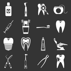 Dental care icons set grey vector