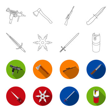 Sword, two-handed sword, gas balloon, shuriken. Weapons set collection icons in outline,flet style vector symbol stock illustration web.