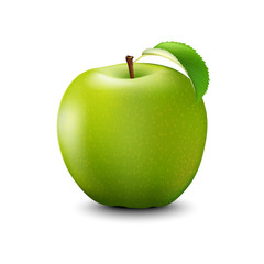 Vector Realistic Green Apple. Detailed 3d Illustration Isolated On White.