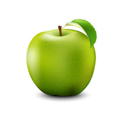 Green Apple Realistic With Leaf. Detailed 3d Illustration Isolated On White.  Vector Illustration.