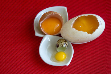 Three raw eggs of duck, hen and quail in their shells.