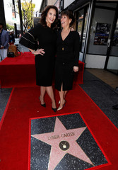 Actor Carter poses with director Jenkins after unveiling her star on the Hollywood Walk of Fame in Los Angeles