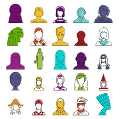 Woman avatar icon set, color outline style