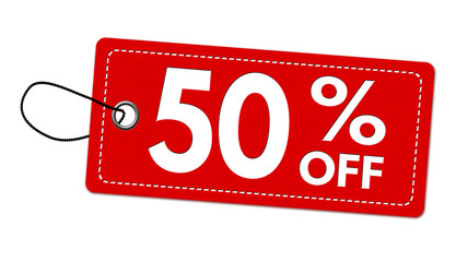 Special offer 50% off label or price tag
