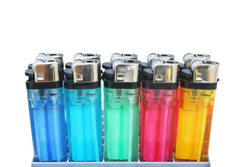 multicolored of  plastic gas lighter group in package