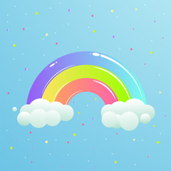 A nice rainbow with clouds against the sky with stars