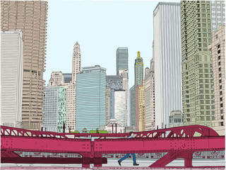 A man crosses a bridge in the city. Concept of being hopeful about a great career. Hand drawn vector illustration.