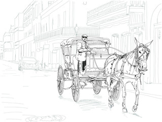 Black and white sketch of a horse drawn carriage on Bourbon Street in New Orleans