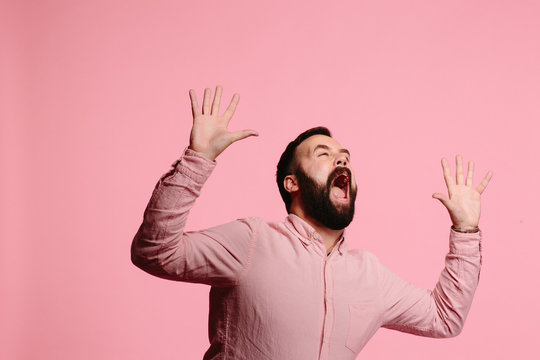 Screaming man with beard and both hands up in the air, mouth wide open, freaking out,  isolated on pink background