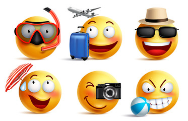 Smileys vector set with summer and travel outfits. Smiley face emoticons with facial expressions and beach elements for summer vacation and holiday in white background. Vector illustration.