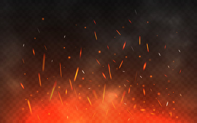 Fire sparks flying up. Glowing particles on a transparent background. Realistic fire and smoke. Red and yellow light effect. Vector illustration