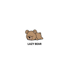 Lazy bear, cute baby bear sleeping icon, logo design, vector illustration