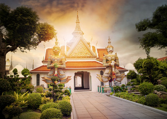beautiful landscape of wat arun temple important landmark and traveling destinaton in bangkok thailand