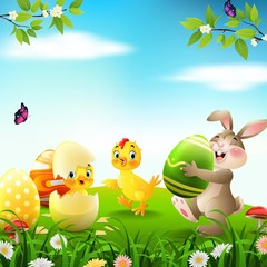 Cartoon rabbit with baby chicken and duckling in the field