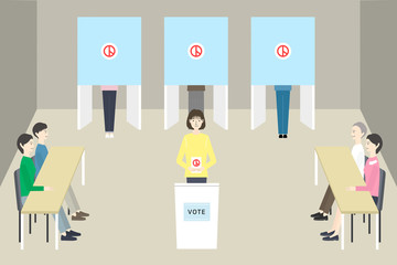 Concept of election. People vote at polling booths.