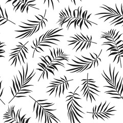 Seamless pattern of monstera leaves. Tropical leaves background