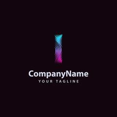 Letter I modern Wave line Logo design template.