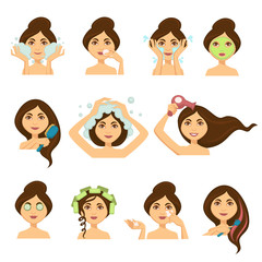 Woman skincare procedures and hair washing vector woman face icons