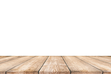 Wood table isolated on white background