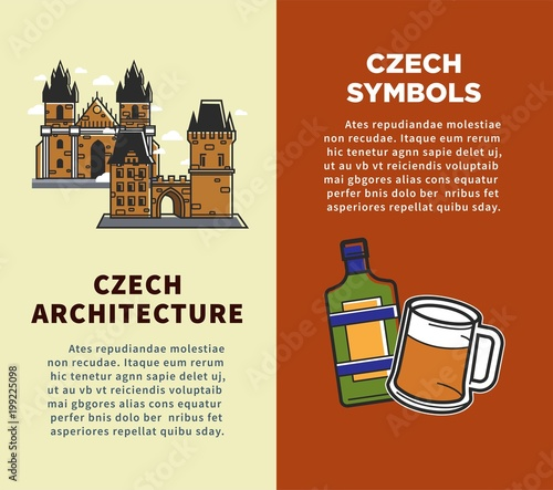 Czech Republic Vector Posters Of Sightseeing Symbols And Prague