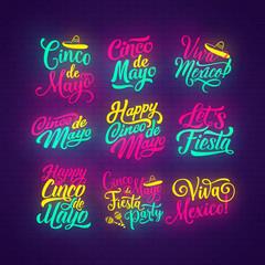 Cinco de Mayo neon lettering of mexican holiday