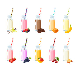 Set of flavored scented milk shake, smoothie. Bottle with straw. Fruits and berries. Vector illustration cartoon flat icon isolated on white.
