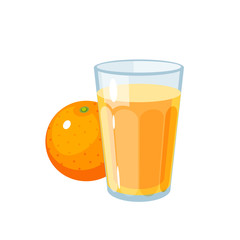 Breakfast, delicious start to the day. Glass of fresh juice and orange fruit. Vector illustration cartoon flat icon isolated on white.