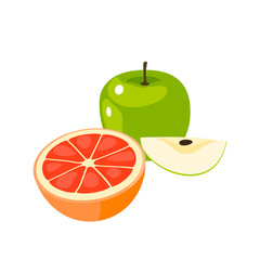 Breakfast, delicious start to the day. Half of orange fruit and green apple, whole and slice. Vector illustration cartoon flat icon isolated on white.