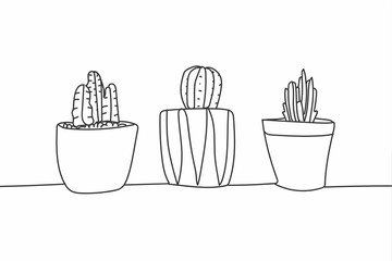 Simple hand drawn cactus and succulents in pots. Doodle cute house interior plants. Vector