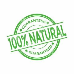 100 Percent Natural Organic Guaranteed Grunge Stamps. vector