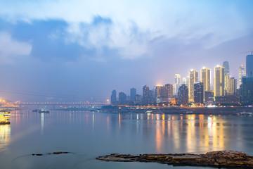 Chongqing city night view skyline