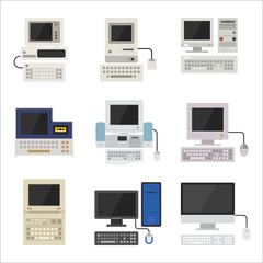 history of computer vector flat design illustration set