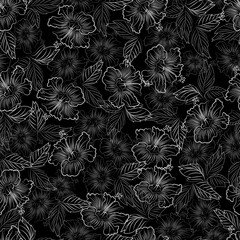 graphic flowers. seamless pattern