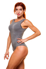 woman swimsuit. Perfect female body isolated on white background