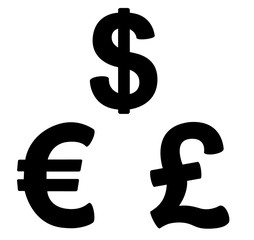set of  currency symbols black and white