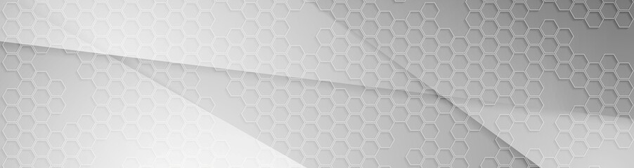 Grey concept web banner with hexagons texture Wall mural