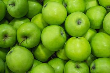 Beautiful ripe apples green close-up